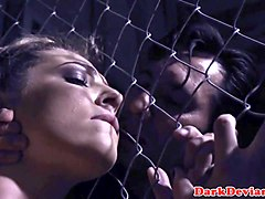 caged sexslave throated by her bdsm master