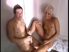 Sauna threesome fucking and pissing