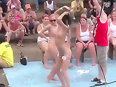 Wet tee shirt and stripping contest with hot chicks