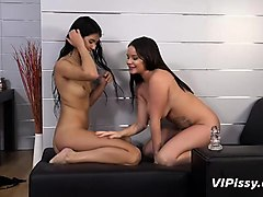 horny lesbians fuck their pussies and drink piss