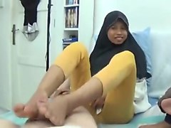 Asian college girl footjob