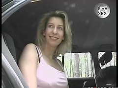 Vintage hot blonde plays in the backseat __