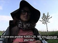 Horny slut got fucked in public forest