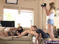 filming a threesome with two very hot nubile chicks