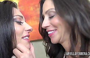 Ariella Ferrera dives deep into Mindis hairy pussy