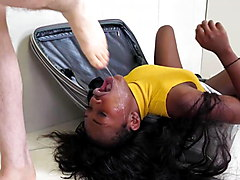 Hot black girl gets brutal ass fucking in a suitcase