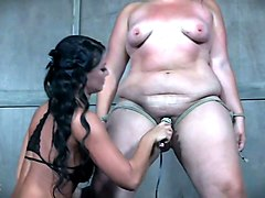 slim chick punishes fat whore mimosa in the torture room