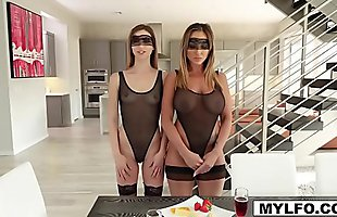 Mom Aubrey Black and her dauther Ana Rose are bored so they call for a male escort that can dominate them in a fetish BDSM threesome!