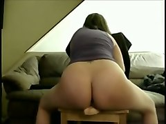 big racked amateur web cam nympho was riding really huge dildo on chair
