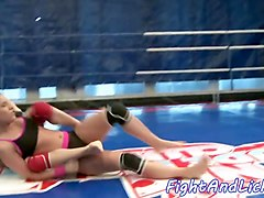 Lesbian european teens in the boxing ring