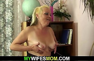 Hairy blonde mother in pantyhose taboo sex