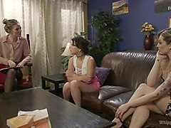 3-way lesbian dom session with mona wales and two eager slut