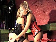 latex mistress dominates over eurobabe