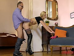 old fart jim slip makes young chick pamella stanwick fully satisfied