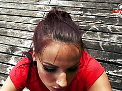 Hot German Brunette big tits teen slut pickup Outdoor Pov