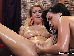 Natalia Heart & Natalia Starr in Girl on Girl Oil Wrestling - Hustler