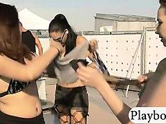 hotties in bikini having fun with nasty dudes outdoors