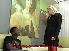 horny blonde comes to black guy's house to be ass fucked