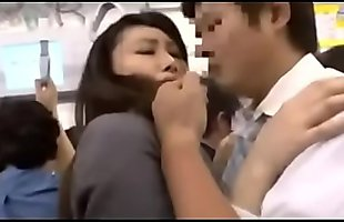 After Asian office-lady&#039_s pants were torn on the bus, she get molested - ReMilf.com