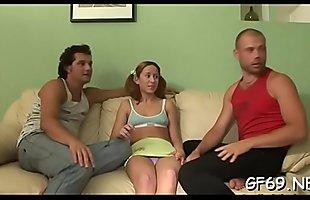 Virgin gets a lusty pounding during trio interracial sex