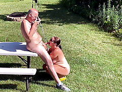 Missy Sucks Thick Uncut Cock Outdoors For A Huge  Facial