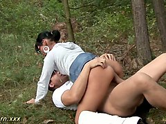 amateur nerdy brunette milf in white blouse rides dick right in the forest