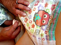 boy and girl in wet goodnites diapers plat with a dildo sex