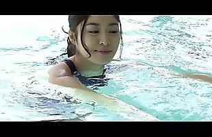 Ryo Shinoda High-Leg Swimsuit (REALISE) navy legs, ass-fetish image video solo