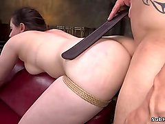 Master rough ties up and fucks brunette