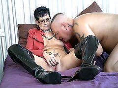 my hot pvc milf in red leather jacket