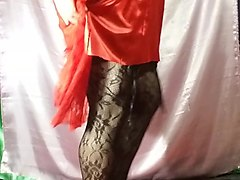 calrolina crossdresser satin red encaje