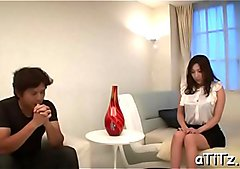 Cute hottie Mirei Yokoyama chokes on a big one