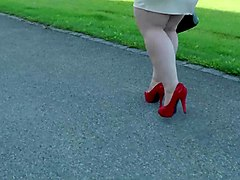 walking red shoes