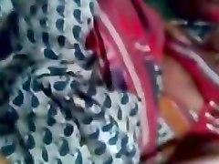 satin silk saree maid enjoying