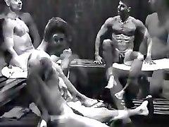 Guys in sauna