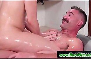 Charles Dera &amp_ Mandy Muse having fun with nuru gel