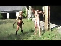 blond  dominates  guy  outside