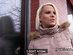 Czech blonde takes huge dick in public