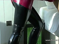 High heel beauty Aimees sexy black latex and softcore babe posing in fetish wear