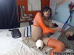 Horny MILF destroys her pussy with weird toys