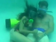 Scuba pool handjob