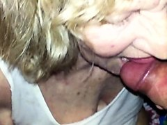 Horny granny gives a hot blowjob and receives a good fucking