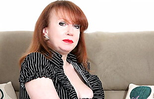 AuntJudys .. 55yo Big Tit Auntie Red watches you jack-off