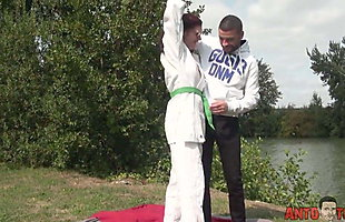 Flora the judokate is being mastered by a deep sodomy
