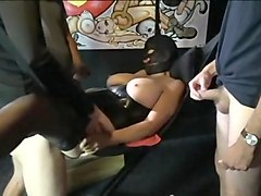 Bbw in a corset gangbang in a swing