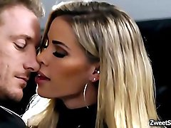 Gorgeous wife Jessa Rhodes shows off her fucking skills to her husbands hot employee by riding his meaty giant dick.
